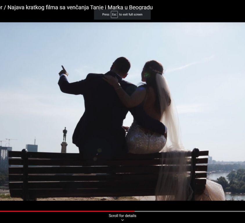 Najava kratkog filma sa venčanja Tanje i Marka u Beogradu